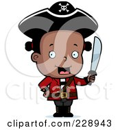 Royalty Free RF Clipart Illustration Of A Black Toddler Pirate Girl Holding A Sword