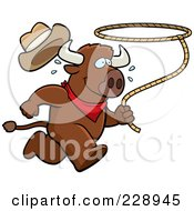 Royalty Free RF Clipart Illustration Of A Rodeo Buffalo Running With A Lasso by Cory Thoman