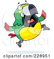 Royalty Free RF Clipart Illustration Of A Parrot Jumping by Cory Thoman