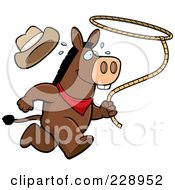Royalty Free RF Clipart Illustration Of A Rodeo Donkey Running With A Lasso by Cory Thoman