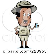 Royalty Free RF Clipart Illustration Of A Black Safari Boy Holding A Cup Of Water