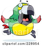 Royalty Free RF Clipart Illustration Of A Parrot Running by Cory Thoman