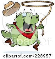 Royalty Free RF Clipart Illustration Of A Rodeo Lizard With A Lasso