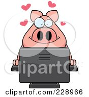 Royalty Free RF Clipart Illustration Of A Pig Using A Desktop Computer