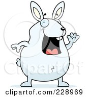 Royalty Free RF Clipart Illustration Of A Rabbit Waving