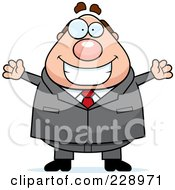 Royalty Free RF Clipart Illustration Of A Happy Chubby Boss by Cory Thoman