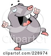 Royalty Free RF Clipart Illustration Of A Mole Doing A Happy Dance by Cory Thoman