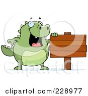 Royalty Free RF Clipart Illustration Of A Lizard With A Blank Wooden Sign