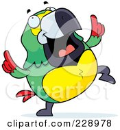 Royalty Free RF Clipart Illustration Of A Parrot Doing A Happy Dance by Cory Thoman