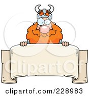 Royalty Free RF Clipart Illustration Of A Viking Looking Over A Blank Banner