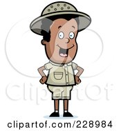 Royalty Free RF Clipart Illustration Of A Black Safari Boy Standing