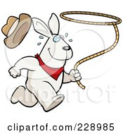 Royalty Free RF Clipart Illustration Of A Rodeo Rabbit Running With A Lasso