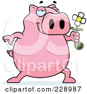 Royalty Free RF Clipart Illustration Of A Pig Holding A Daisy Flower by Cory Thoman