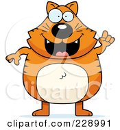 Royalty Free RF Clipart Illustration Of A Ginger Cat With An Idea
