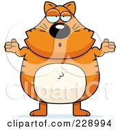 Royalty Free RF Clipart Illustration Of A Ginger Cat Shrugging