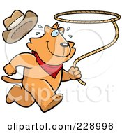 Royalty Free RF Clipart Illustration Of A Rodeo Cat Running With A Lasso by Cory Thoman