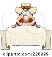 Royalty Free RF Clipart Illustration Of A Sheriff Looking Over A Blank Banner