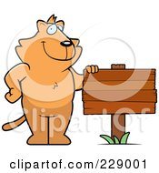 Royalty Free RF Clipart Illustration Of A Ginger Cat With A Blank Wood Sign
