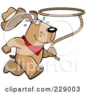 Royalty Free RF Clipart Illustration Of A Rodeo Dog Running With A Lasso