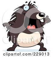 Royalty Free RF Clipart Illustration Of A Hedgehog With An Idea by Cory Thoman