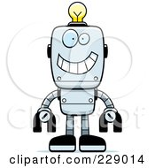 Royalty Free RF Clipart Illustration Of A Happy Metal Robot With A Light Bulb Brain by Cory Thoman