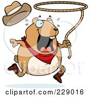 Royalty Free RF Clipart Illustration Of A Rodeo Hamster Swinging A Lasso