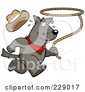 Royalty Free RF Clipart Illustration Of A Rodeo Wolf Running With A Lasso by Cory Thoman