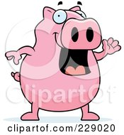 Royalty Free RF Clipart Illustration Of A Pig Waving