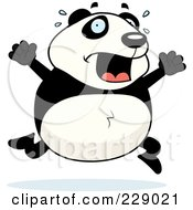 Royalty Free RF Clipart Illustration Of A Panda Running Scared