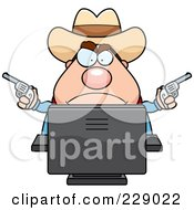 Royalty Free RF Clipart Illustration Of A Chubby Sheriff Using A Desktop Computer