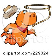 Royalty Free RF Clipart Illustration Of A Rodeo T Rex Running With A Lasso