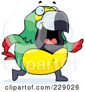 Royalty Free RF Clipart Illustration Of A Parrot Walking by Cory Thoman