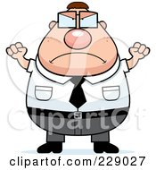 Royalty Free RF Clipart Illustration Of A Mad Plump Nerd Man by Cory Thoman