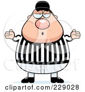 Royalty Free RF Clipart Illustration Of A Chubby Referee Shrugging by Cory Thoman