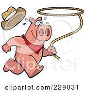 Royalty Free RF Clipart Illustration Of A Rodeo Pig Running With A Lasso