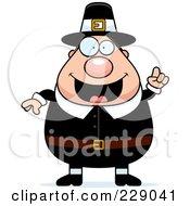 Royalty Free RF Clipart Illustration Of A Chubby Pilgrim Man With An Idea