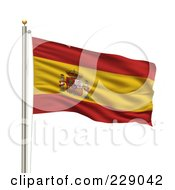 Royalty Free RF Clipart Illustration Of The Flag Of Spain Waving On A Pole