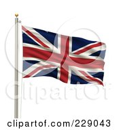 Royalty Free RF Clipart Illustration Of The Flag Of UK Waving On A Pole