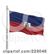 Royalty Free RF Clipart Illustration Of The Flag Of Haiti Waving On A Pole by stockillustrations