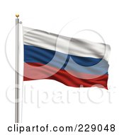 Royalty Free RF Clipart Illustration Of The Flag Of Russia Waving On A Pole by stockillustrations