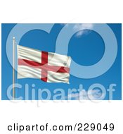 Royalty Free RF Clipart Illustration Of The Flag Of England Waving On A Pole Against A Blue Sky by stockillustrations