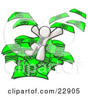 Clipart Illustration Of A White Business Man Jumping In A Pile Of Money And Throwing Cash Into The Air by Leo Blanchette