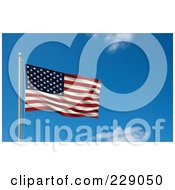Royalty Free RF Clipart Illustration Of The Flag Of USA Waving On A Pole Against A Blue Sky