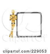 3d Wooden Mannequin Leaning Against A Blank Sign Board
