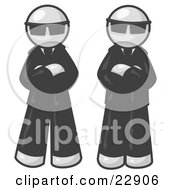 Clipart Illustration Of Two White Men Standing With Their Arms Crossed Wearing Sunglasses And Black Suits by Leo Blanchette