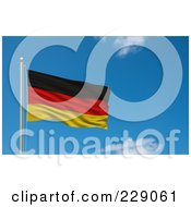 Royalty Free RF Clipart Illustration Of The Flag Of Germany Waving On A Pole Against A Blue Sky by stockillustrations