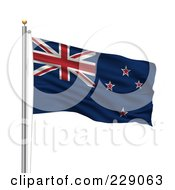 Royalty Free RF Clipart Illustration Of The Flag Of New Zealand Waving On A Pole