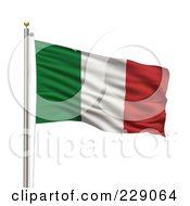 Royalty Free RF Clipart Illustration Of The Flag Of Italy Waving On A Pole