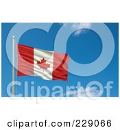 Royalty Free RF Clipart Illustration Of The Flag Of Canada Waving On A Pole Against A Blue Sky