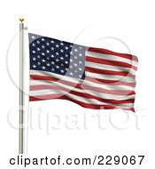Royalty Free RF Clipart Illustration Of The Flag Of Usa Waving On A Pole by stockillustrations